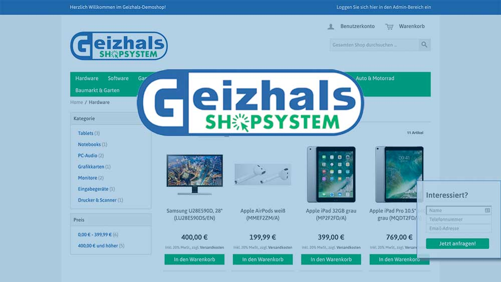 Geizhalsshop Screenshot und Logo