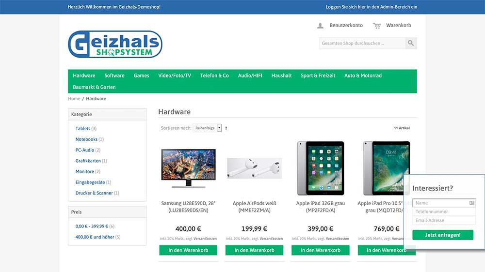 Geizhalsshop Screenshot
