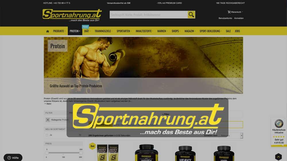 Sportnahrung Shop Screenshot und Logo