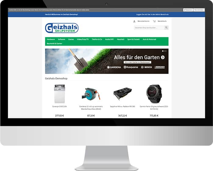 Bildschirm mit Geizhalsshop