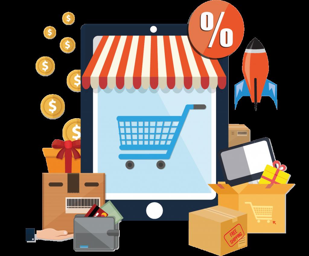 Illustration Online Shop mit Tablet, Einkaufswagen Geschenkspaketen, Rakete, Magento mit AWS Hosting,
