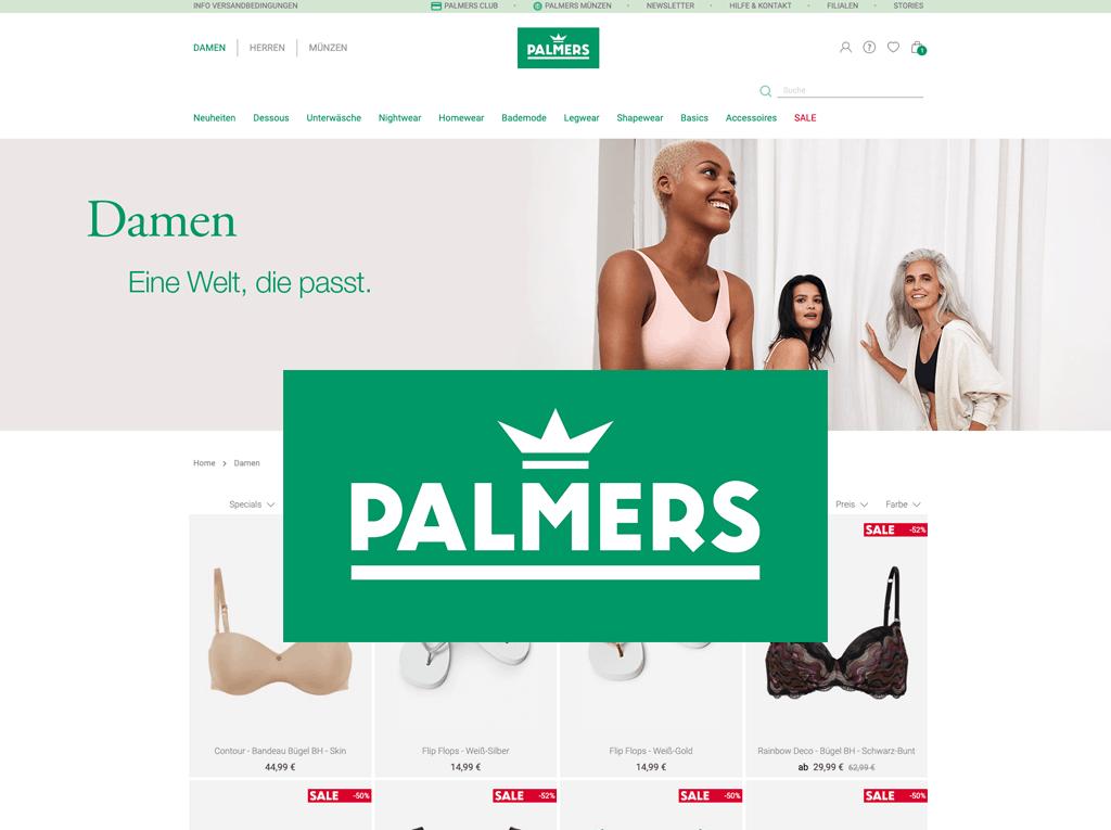 Palmers Screenshot Kundenseite